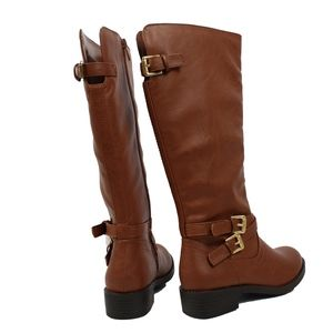 GIRLS Cognac Buckle Knee High Riding Boot
